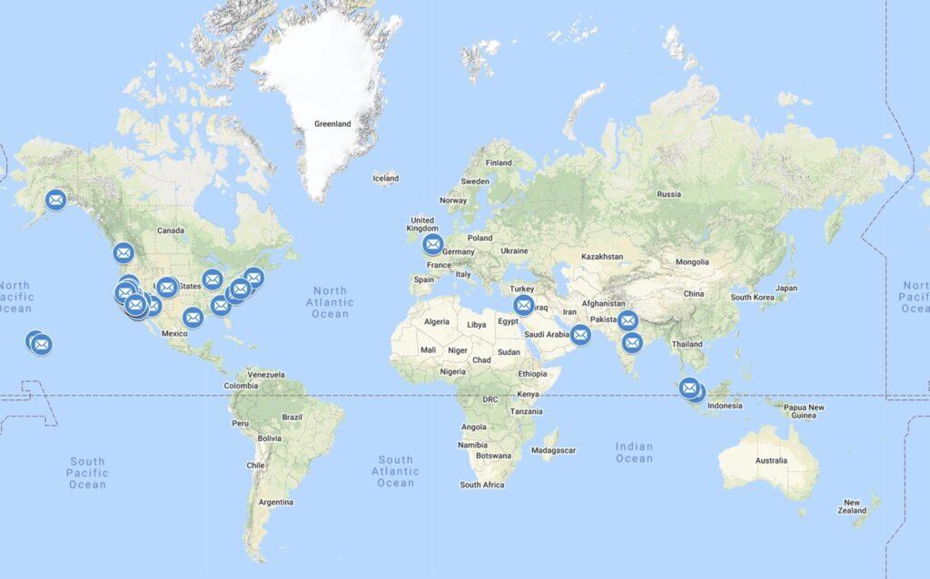 PenPal Program World Map